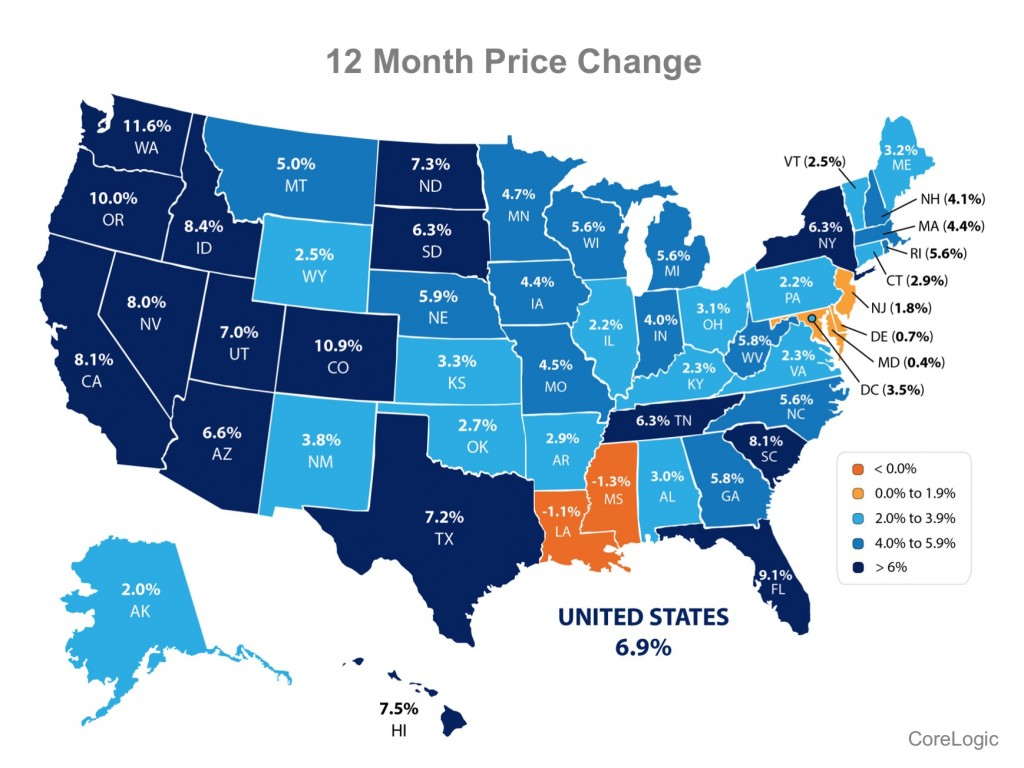 Map of US 12 month price change