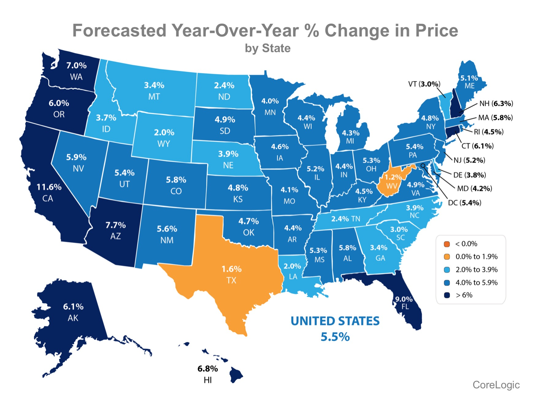 Map of U.S. forecasted year over year % change in price